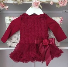 Deep Berry Red Baby Belle Tutu Dress Long Sleeves