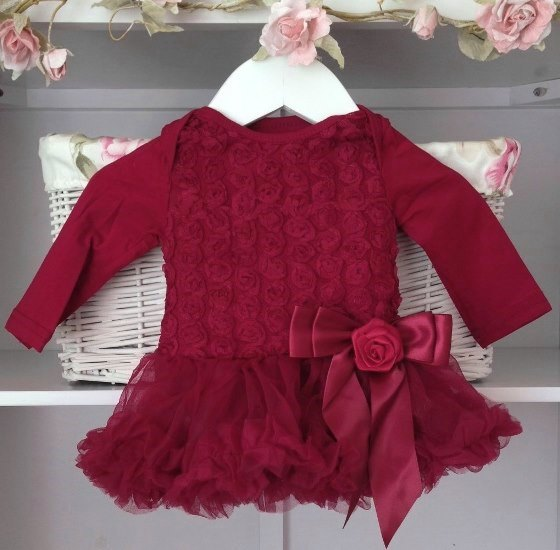 Deep Berry Red Baby Belle Tutu Dress Long Sleeves Vintage