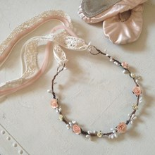 Delicate Ballet Peach Rose Hair Garland