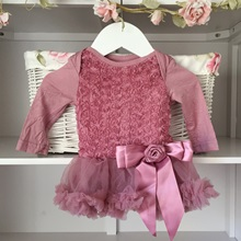 Dusky Ornate Pink Baby Belle Tutu Dress Long Sleeves