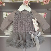 Soft Grey Baby Belle Tutu Dress Long Sleeves
