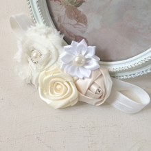 Vintage Flower Cluster Pear Hairband - Ivory & Cream