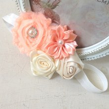 Vintage Flower Cluster Hairband - Peaches & Cream